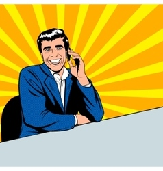 Businessman speaking by phone vector image