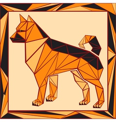 Chinese horoscope stylized stained glass dog vector