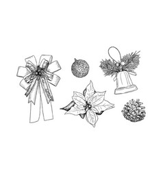 christmas icons hand drawn sketch set vector image vector image