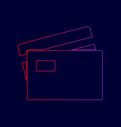 credit card sign line icon with gradient vector image