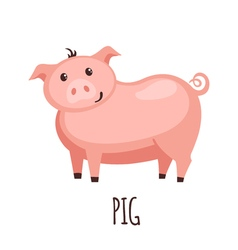 Cute pig in flat style vector