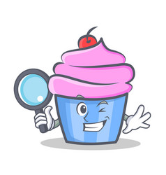 Detective cupcake character cartoon style vector