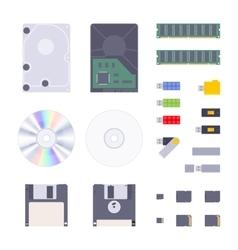 Digital memory storages set vector