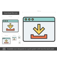 Download file line icon vector