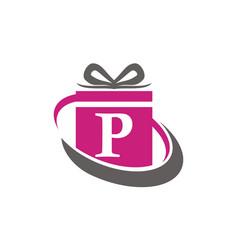 Gift box ribbon letter p vector