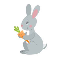 gray hare with carrot vector image