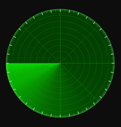 green radar screen circular 360 degree scale vector image vector image
