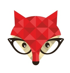Hipster emblem with fox vector