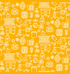 Honey outline icon seamless yellow pattern vector