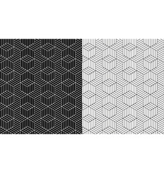Isometric 3d line cube pattern background vector