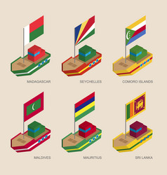 Isometric ships with flags of asian countries vector