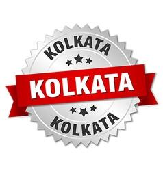 Kolkata round silver badge with red ribbon vector