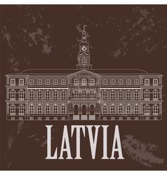 Latvia landmarks retro styled image vector