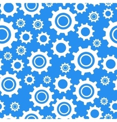 Many different types cogwheel white icons on blue vector image