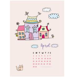 month calendar april 2018 fabulous home vector image vector image