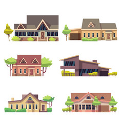 private residential cottage houses icons colored vector image vector image