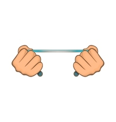Rope in hands icon cartoon style vector