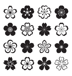 sakura icons isolated on a white background vector image