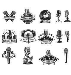 Set of karaoke party labels vintage microphone vector