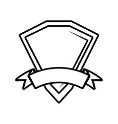 Shield premium badge ribbon outline empty vector