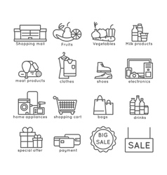 Shopping line set vector image