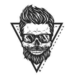 Skull hipster glasses vector