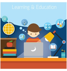 Student with Laptop Computer Education Icons vector image vector image