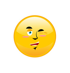 Winks emoji isolated happy yellow circle emotion vector