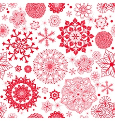 Winter seamless pattern with red snowflakes vector image vector image
