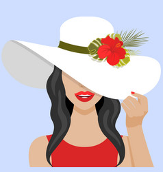 with beautiful woman with hat vector image
