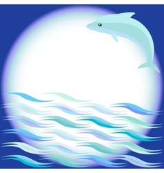 Sea background with jumping dolphin vector image