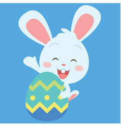 Happy bunny with easter egg vector