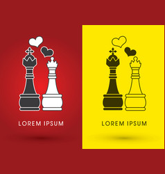 king and queen love chess vector image