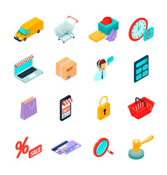 Electronic commerce shopping isometric icons vector
