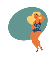 plump plus size blond curvy woman girl in vector image