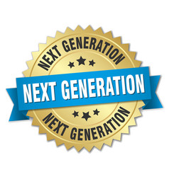 Next generation round isolated gold badge vector
