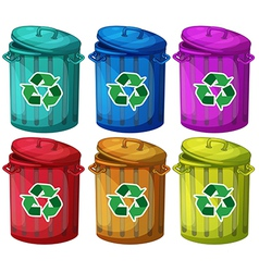 Six trashcans for recyclable garbages vector
