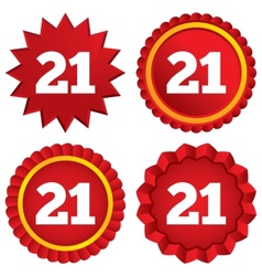 21 years old sign adult label symbol vector