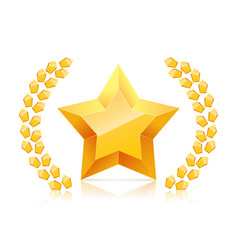 3d golden yellow star laurel wreaths branch vector