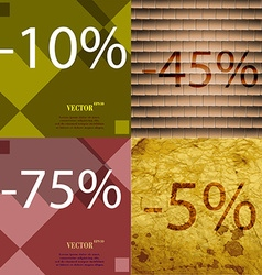 45 75 5 icon set of percent discount on abstract vector