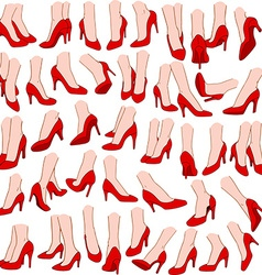 Woman feet with red high heel shoes pack vector