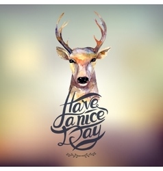 Watercolor deer Hand drawn vintage vector image