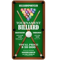 Design poster billiard tournament vector