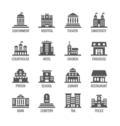 Government public building icons set vector