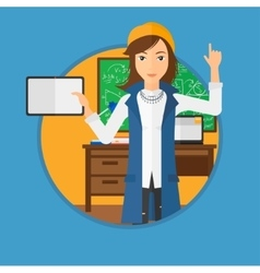 Female student using tablet computer in classroom vector image