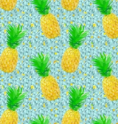 Low poly pineapple pattern on ice vector