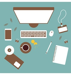 Working table top view vector
