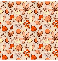 Seamless autumn leaves texture pattern background vector