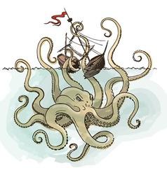 Octopus kraken attacks the boat vector