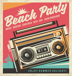 Beach party retro poster vector